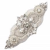 "Crystal Applique Rhinestone Silver Beaded with Pearls 5.5"" GB743"