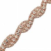 Crystal Clear Rhinestone Trim Rose Gold Metal Backing Bridal Belt Embellishment GB748