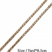 "RMGB749 Remnant 13"" Gold Single Row SS12 Crystal Rhinestone Trim Setting Chain Bridal Bling"