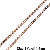 Rose Gold Single Row SS12 Crystal Rhinestone Trim Setting Chain Bridal Bling GB749