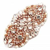 "Rose Gold Beaded Applique with Crystal Rhinestones and Pearls Great for Bridal Accessories 3.75"" GB750"