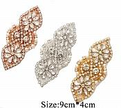 "Gold Beaded Applique with Crystal Rhinestones and Pearls 3.75"" GB751"