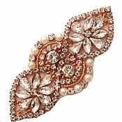 "Rose Gold Beaded Applique with Crystal Rhinestones and Pearls 3.75"" GB751"