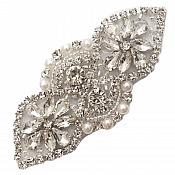 """Silver Beaded Applique with Crystal Rhinestones and Pearls 3.75"""" GB751"""