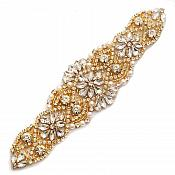 "Gold Beaded Applique with Crystal Rhinestones Gold Settings and Pearls Bridal Bling 7.75"" GB753"
