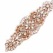 """Rose Gold Beaded Applique with Crystal Rhinestones and Pearls Bridal Bling 6.75"""" GB755"""