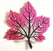 Embroidered Fuchsia Leaf Applique Iron On Clothing Patch Craft Motif GB770