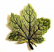 Embroidered Green Leaf Applique Iron On Clothing Patch Craft Motif GB770