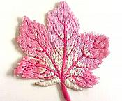 Embroidered Pink Leaf Applique Iron On Clothing Patch Craft Motif GB770