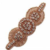 "Applique Rose Gold Beaded Crystal Rhinestone Patch 4"" GB771"