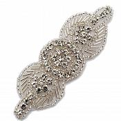 "Applique Silver Beaded Crystal Rhinestone Patch 4"" GB771"