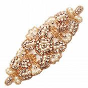 "Applique Rose Gold Beaded Crystal Rhinestone Patch with Pearls 6.25"" GB776"