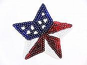 "Star Applique Sequin Patriotic Red White Blue Iron On Patch 4"" GB773"