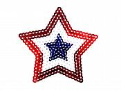 "Star Applique Sequin Patriotic Red White Blue Iron On Patch 2.5""  GB777"