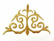 "Embroidered Applique Gold Metallic Iron On Designer Costume Patch 6""  GB786"