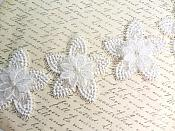 "3D Lace Embroidered Shimmering White Pearl Floral Appliques 18"" GB788"