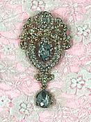 """GB791 Bridal Gold Crystal Glass Rhinestone Brooch """"Brianna"""" 4"""""""
