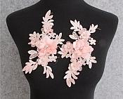"""3D Embroidered Silk Rhinestone Appliques Pink Floral Mirror Pair With Pearls 7.5""""  GB795X"""