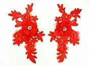 """3D Embroidered Silk Rhinestone Appliques Red Floral Mirror Pair With Pearls 7.5""""  GB795X"""