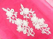 "White Bridal 3D Embroidered Silk Rhinestone Appliques Floral Mirror Pair With Pearls 10.5""  GB796X"