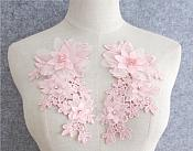 """3D Embroidered Silk Rhinestone Appliques Pink Crystal Floral Mirror Pair 7.5""""  GB797X"""