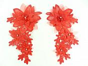 "3D Embroidered Silk Rhinestone Appliques Red Crystal Floral Mirror Pair 7.5""  GB797X"