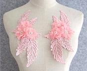 "3D Embroidered Silk Rhinestone Appliques Pink Floral Mirror Pair With Pearls 7.5""  GB798X"