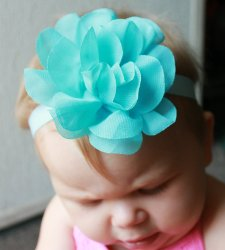 GB8 Sheer Layerd Flower Baby Headband Hairbow 10 Colors Available