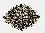 """Brooch Black Gold Crystal Rhinestone Pin Vintage Glass 2.5"""" (GB80-bkglcr)"""
