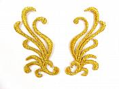 "Small Embroidered Appliques Gold Metallic Iron On Designer Mirror Pair 2.25""  GB801X"