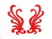 "Small Embroidered Appliques Red Iron On Designer Mirror Pair 2.25""  GB801X"