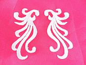 "Small Embroidered Appliques White Iron On Designer Mirror Pair 2.25""  GB801X"