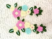 "Lace Embroidered Multi-Color Designer Floral Mirror Pair Appliques 6.5"" GB802"
