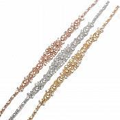 "Rose Gold Bridal Sash Applique w/ Crystal Rhinestones 23"" GB803"