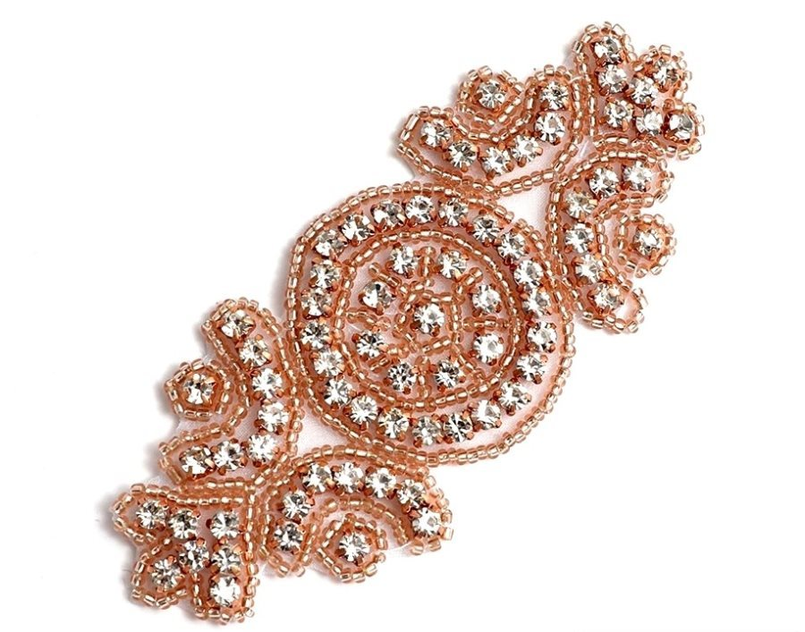 "Applique Rose Gold Beaded Crystal Rhinestone Patch 4"" GB804"