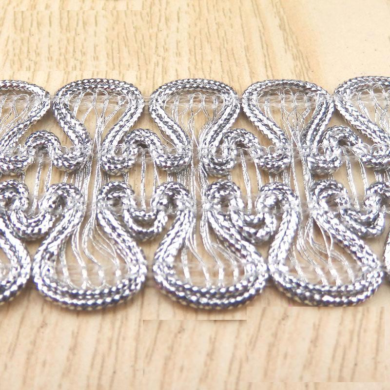 "GB806 Silver Metallic Sewing Craft Trim 1 1/2"""