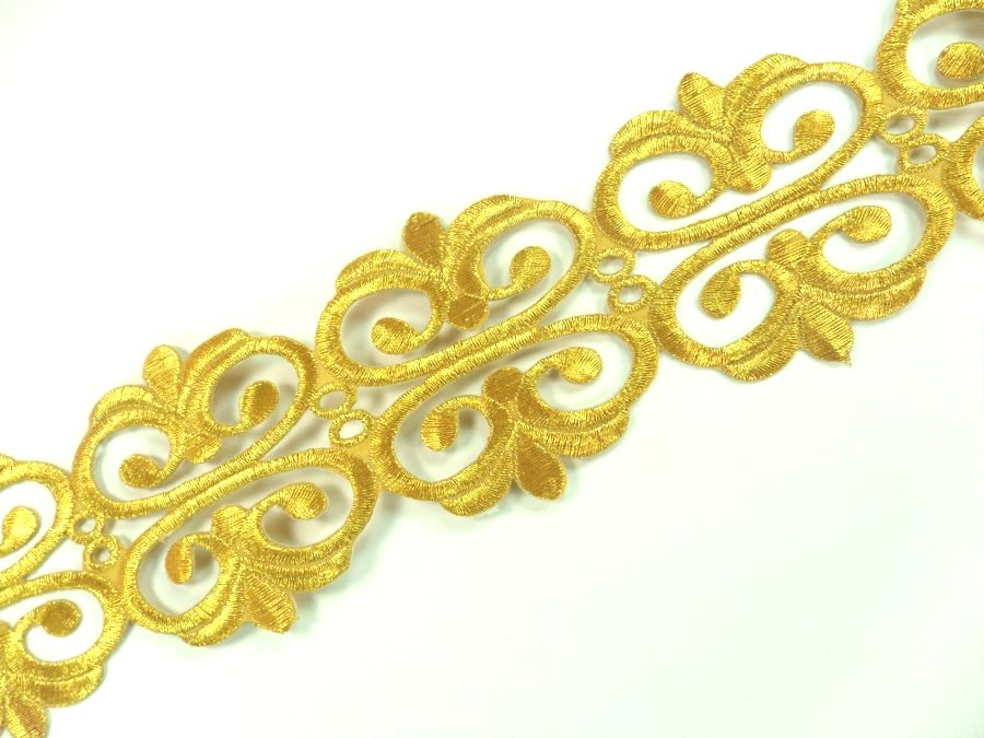 Embroidered Trim Gold Metallic Designer Scroll Sewing Iron on Border Edging GB807