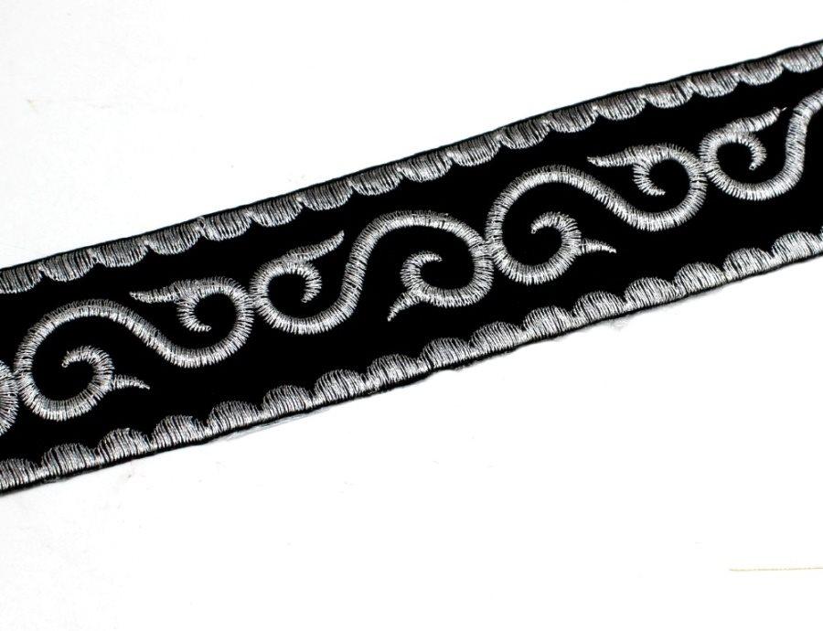 Black Trim Silver Metallic Designer Scroll Sewing Iron on Border Edging GB809