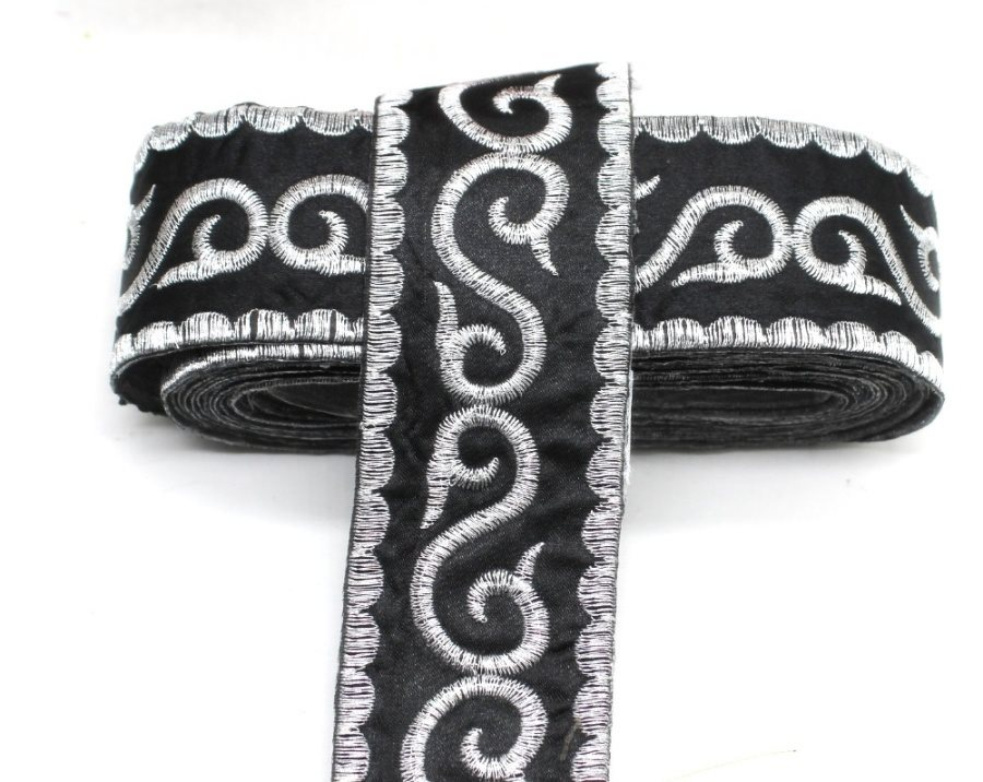 Black Trim Silver Metallic Designer Scroll Sewing Iron on Border Edging GB809