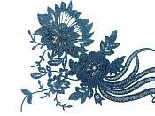 "Large 3D Embroidered Applique Shimmering Sparkling Navy Blue 20"" GB814"
