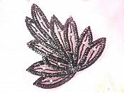 """Leaf Applique Black Sequins Beads and Clear Rhinestone Accents Iron On 6"""" GB815"""