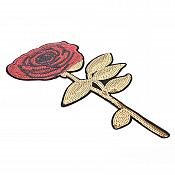 """Rose Applique Red Sequins Embroidered Stem Iron On 12.5"""" GB816"""