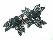 """Double Floral Cluster Applique of Black Flowers Sequins Beads Iron On 6.5"""" GB818"""