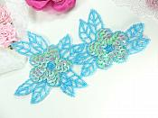 """Double Floral Cluster Applique of Blue AB Flowers Sequins Beads Iron On 6.5"""" GB818"""