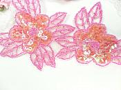 """Double Floral Cluster Applique of Fuchsia AB Flowers Sequins Beads Iron On 6.5"""" GB818"""