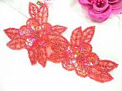 """Double Floral Cluster Applique of Red AB Flowers Sequins Beads Iron On 6.5"""" GB818"""