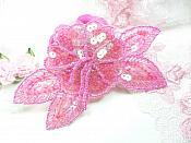 "Floral Beaded Sequin Applique Dangles Center Fuchsia Ab 5.5"" GB819"