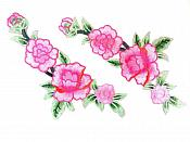 """Pink Floral Appliques Mirror Pair Embroidered Clothing Patch 10.5"""" GB821X"""