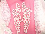 """Embroidered Appliques White Sew On Scroll Patch 11.5"""" GB824X"""