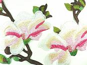 """Set of Two Pink Floral Appliques Embroidered Clothing Patch 11"""" GB873"""